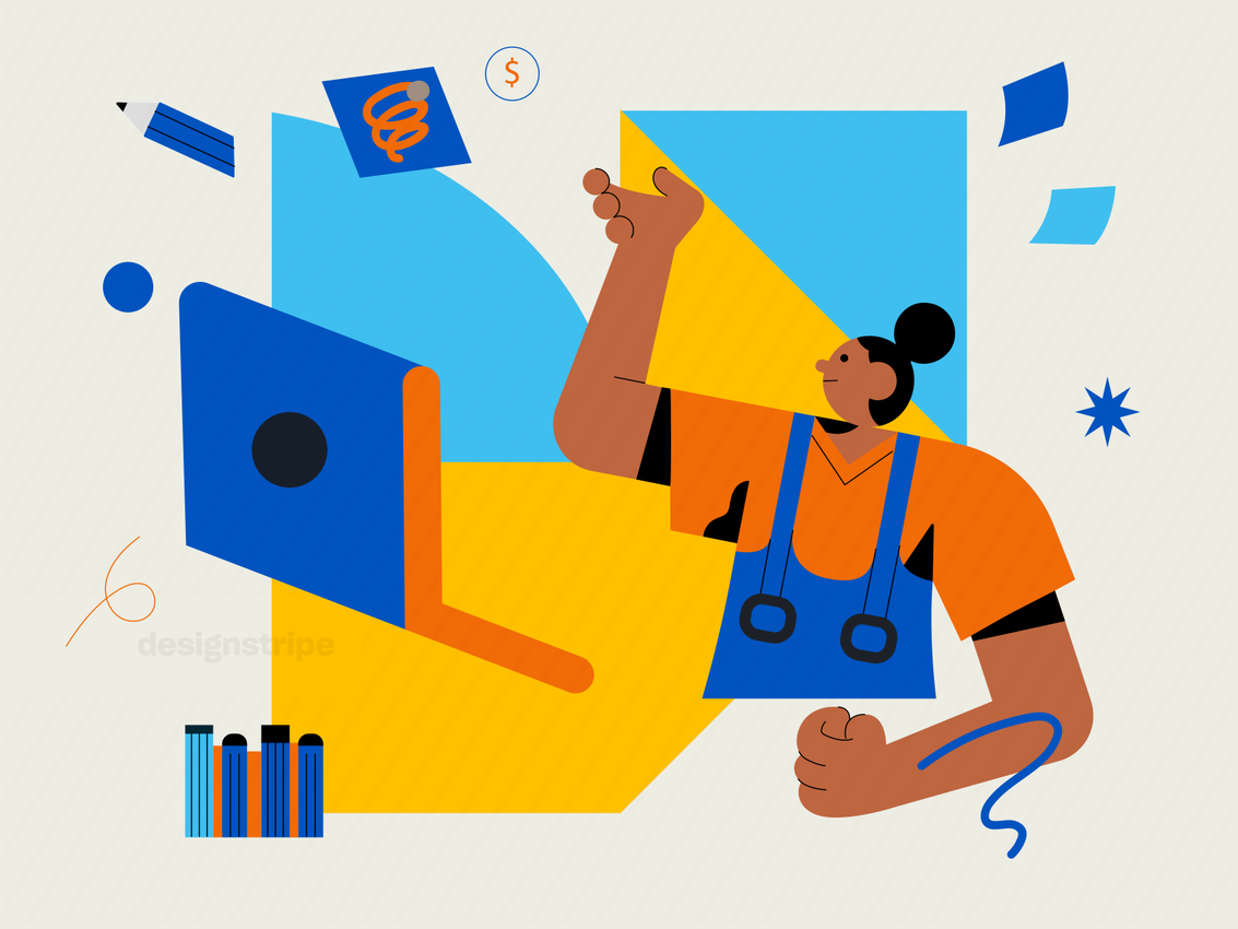 Illustration Of Creative Graphic Designer Ready For Work