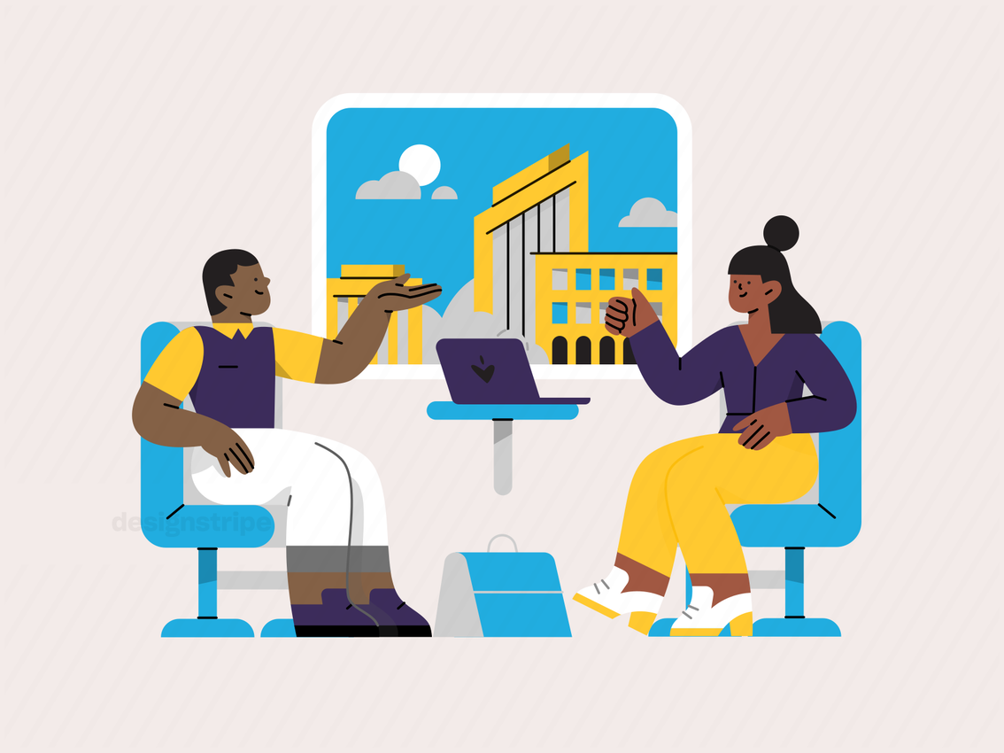 Illustration Of Colleagues Chatting on a Train