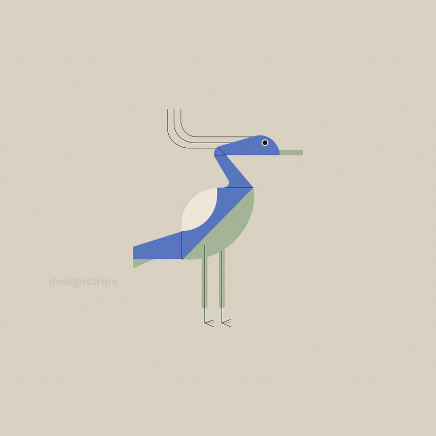 Illustration Of Crane, Heron, Or Egret Standing In Profile With Tail Up