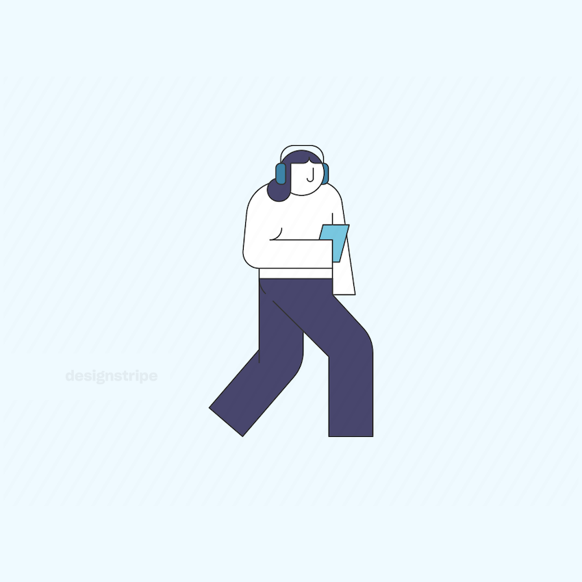 Illustration Of Person With Headphones And Smartphone