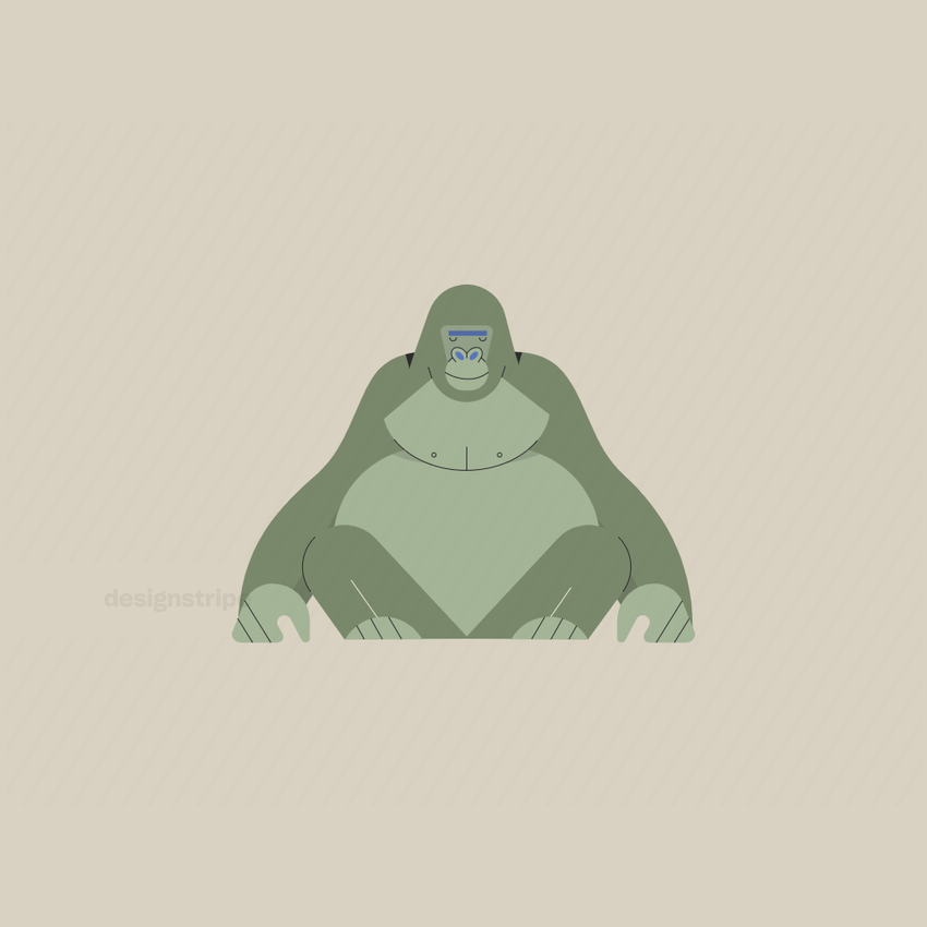 Illustration Of Gorilla Sitting