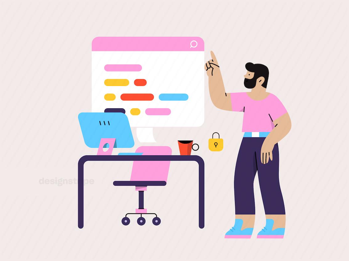Illustration Of Developer Teaching Coding Class