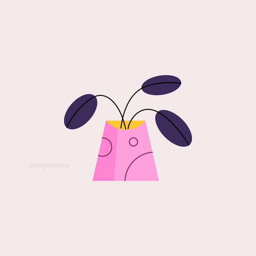 Illustration Of Decorative Vase with Flowers