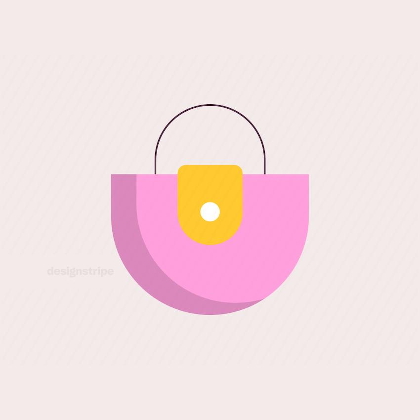 Illustration Of Round Or Curved Handbag