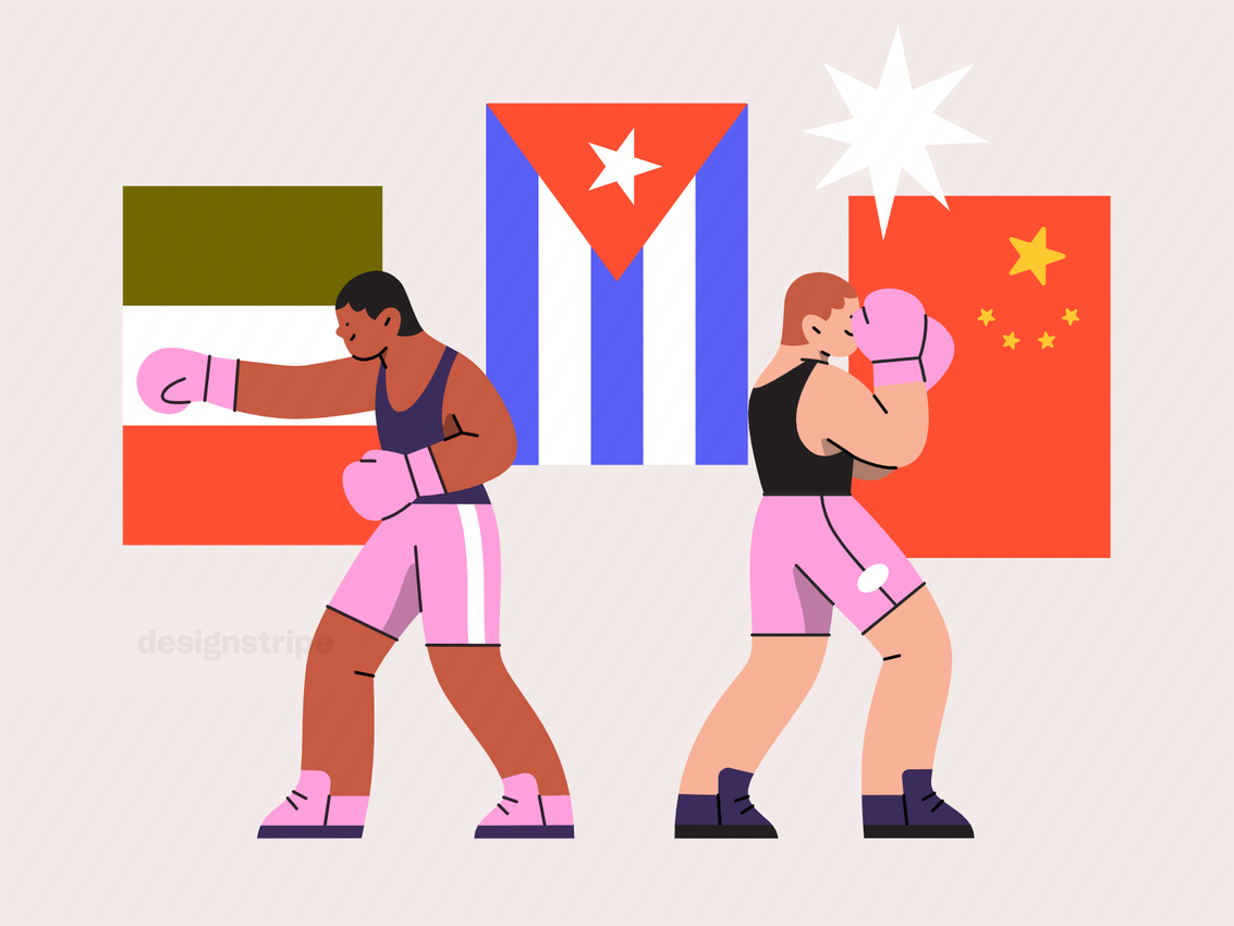 Illustration Of Two Athletes Posing In Action With Flags