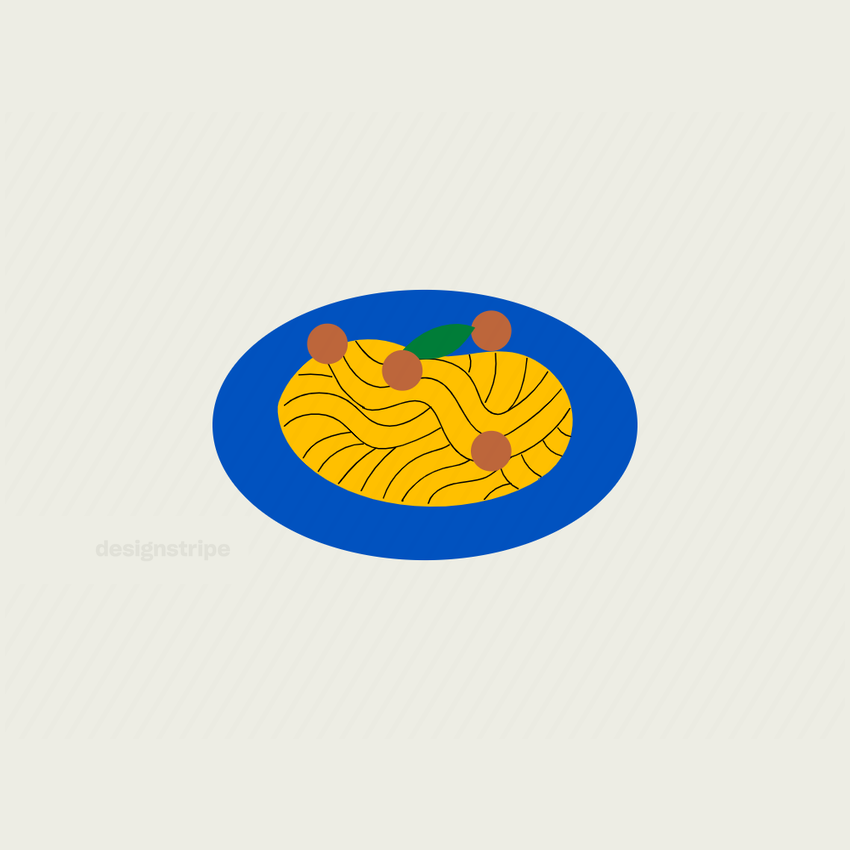 Illustration Of Plate of Spaghetti and Meatballs