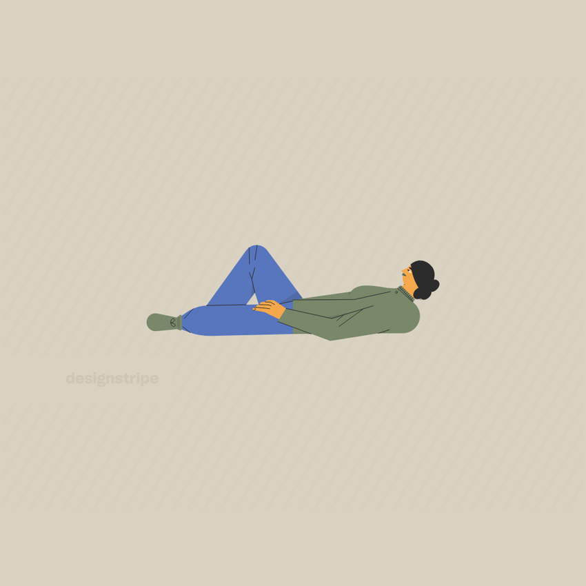 Illustration Of Woman Reclining With Head Lifted