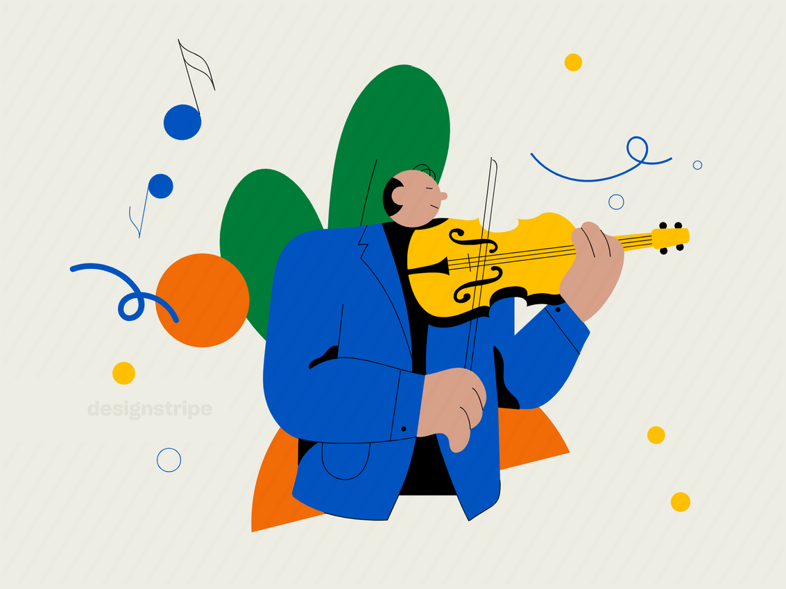 Illustration Of Violinist Playing Song On Violin