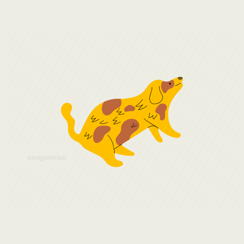 Illustration Of Happy Dog with Spots Lying Down