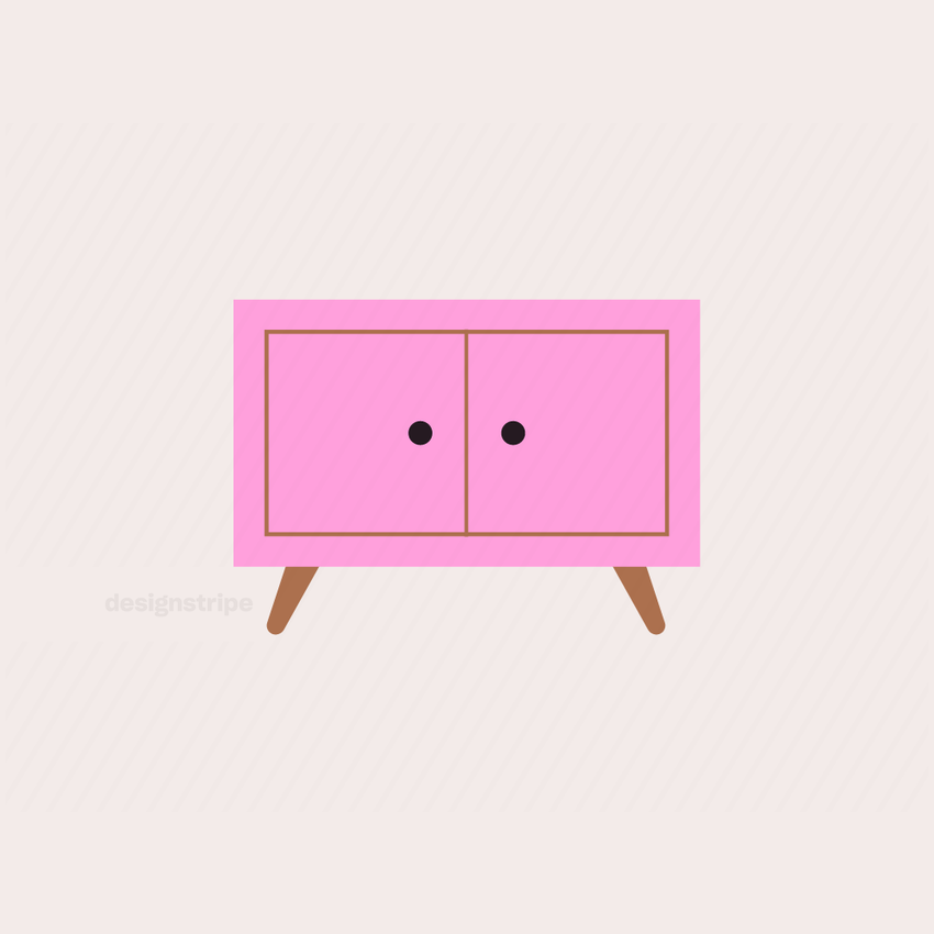 Illustration Of Small Wooden Cabinet