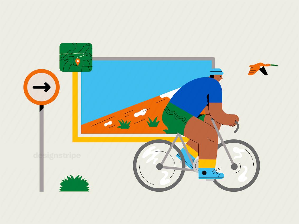 Illustration Of Cyclist Climbing Uphill