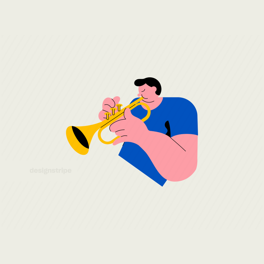 Illustration Of Half-body man playing the trumpet