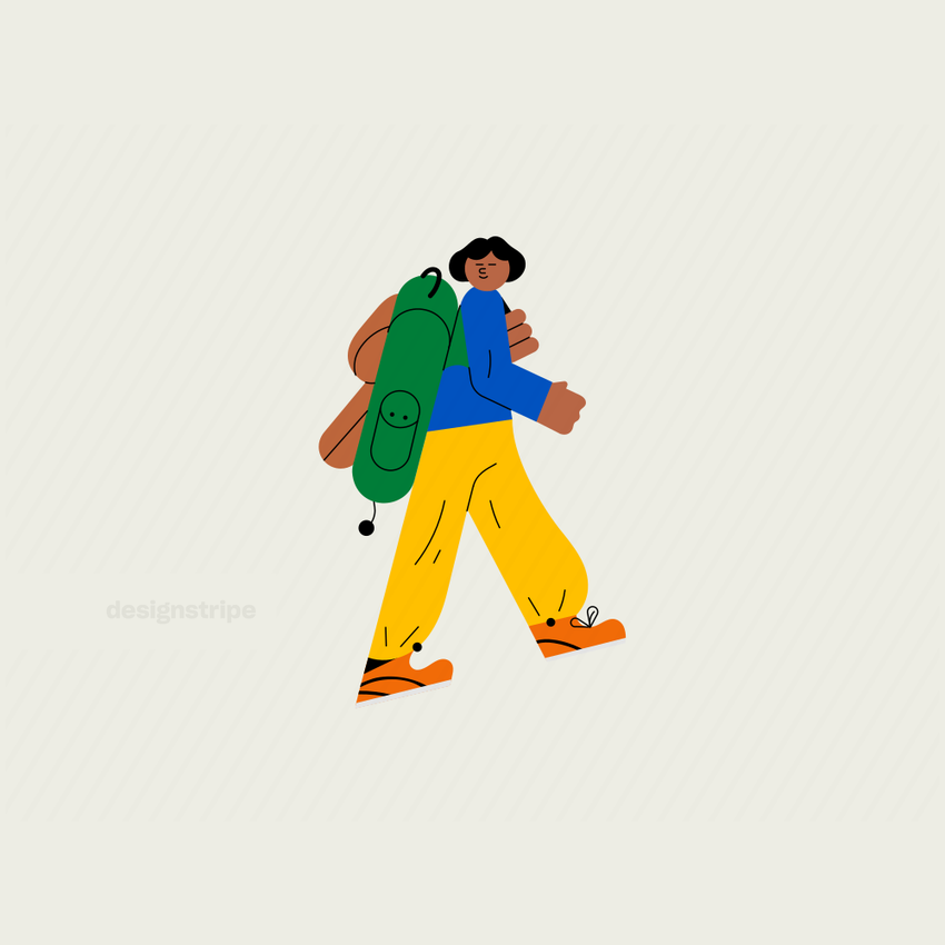 Illustration Of Side Facing Girl with Hiking Gear