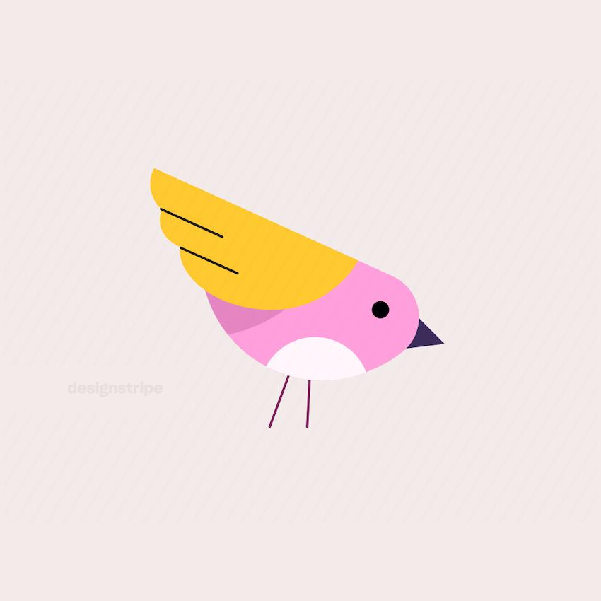 Illustration Of Small Bird Pecking