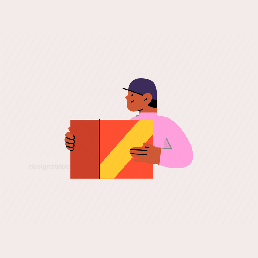 Illustration Of Half Body Person Wearing Hat Holding Box