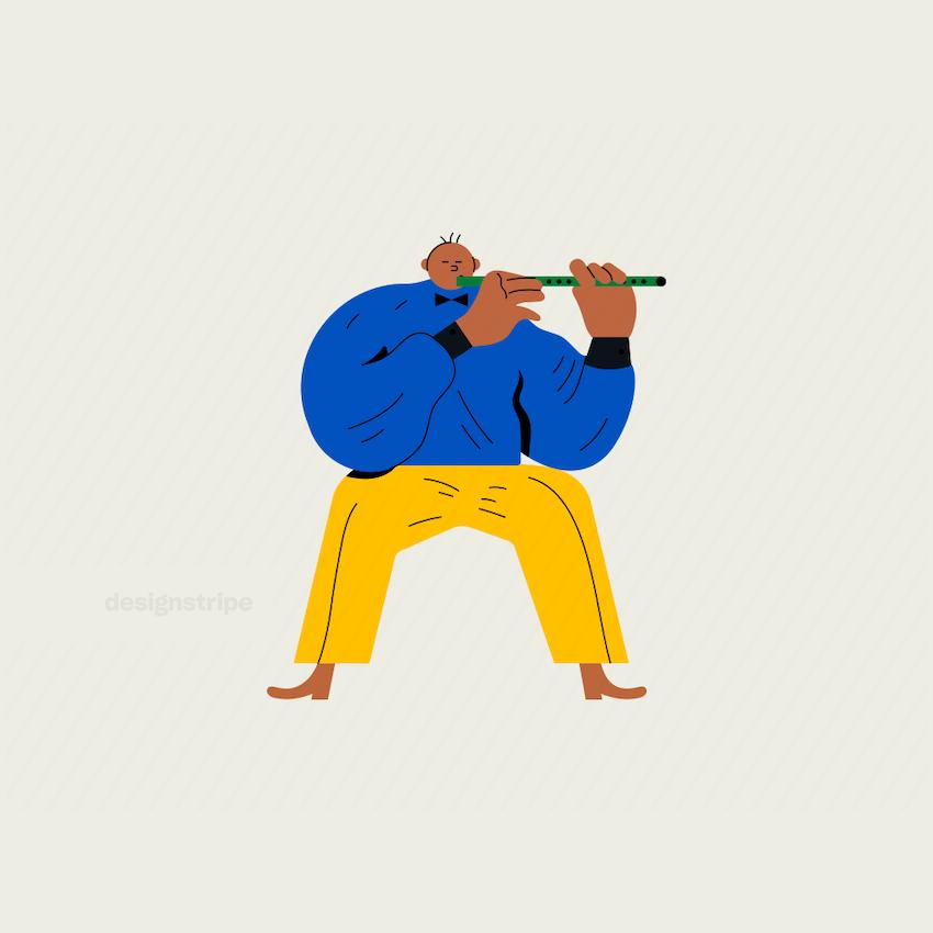 Illustration Of Sitting Man Playing Flute