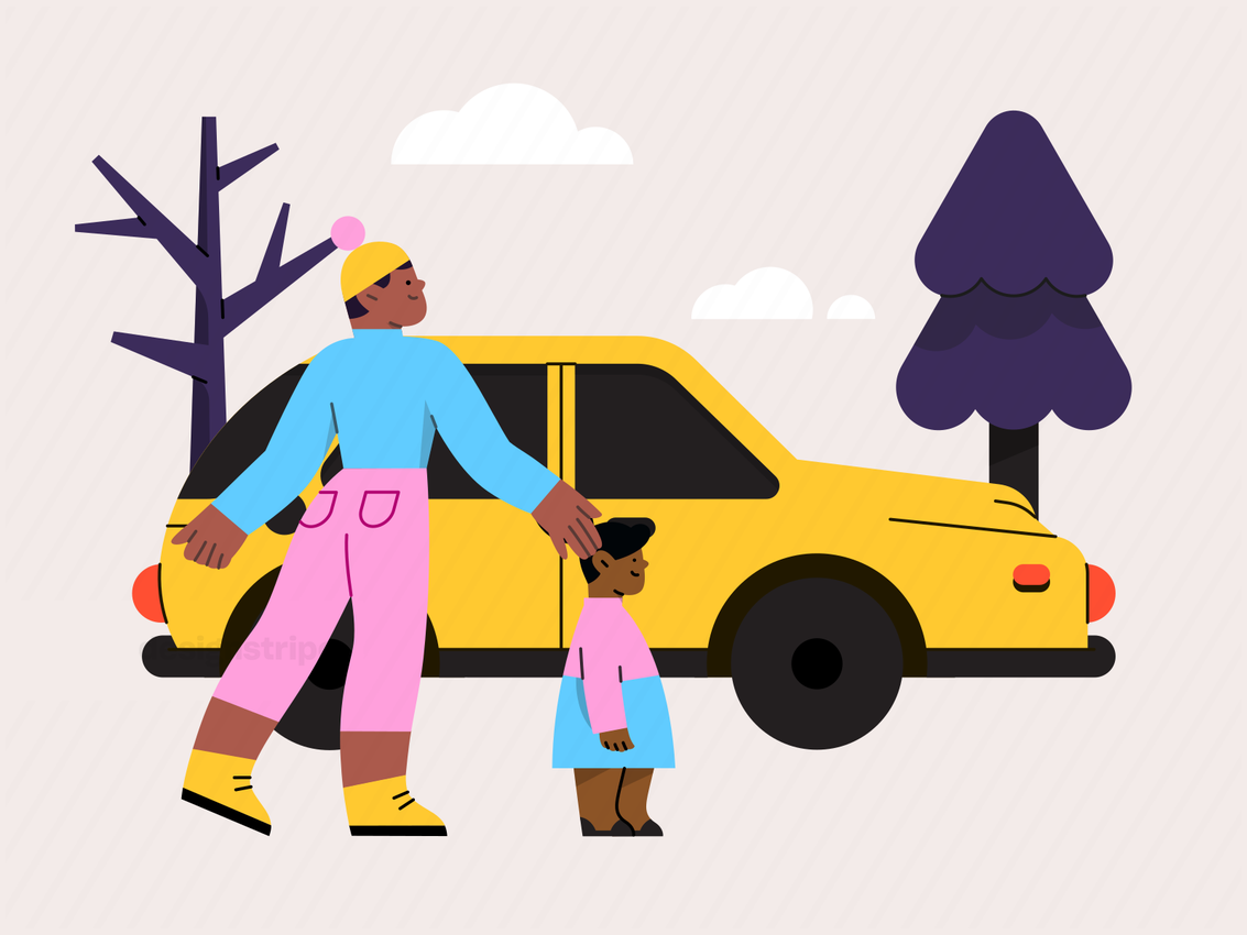Illustration Of Mother and Daughter Going Driving