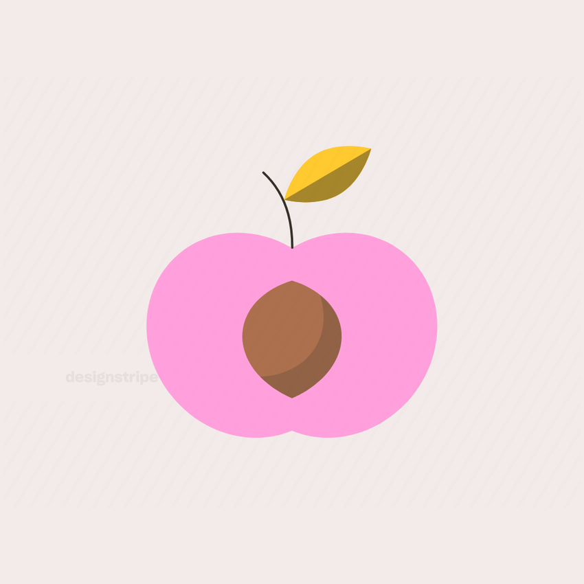 Illustration Of Half Peach with Stone and Stem