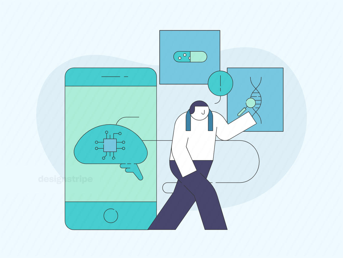 Illustration Of Person Using Artificial Intelligence In Daily Life