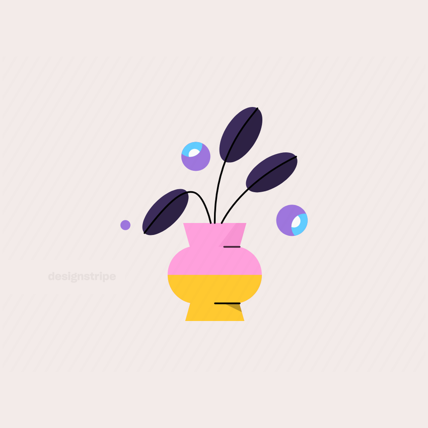 Illustration Of Short Round Vase with Flowers