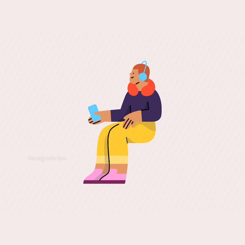 Illustration Of Man Sitting on Public Transport