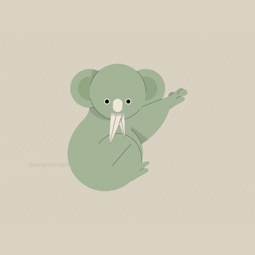 Illustration Of Baby Koala Eating Leaf