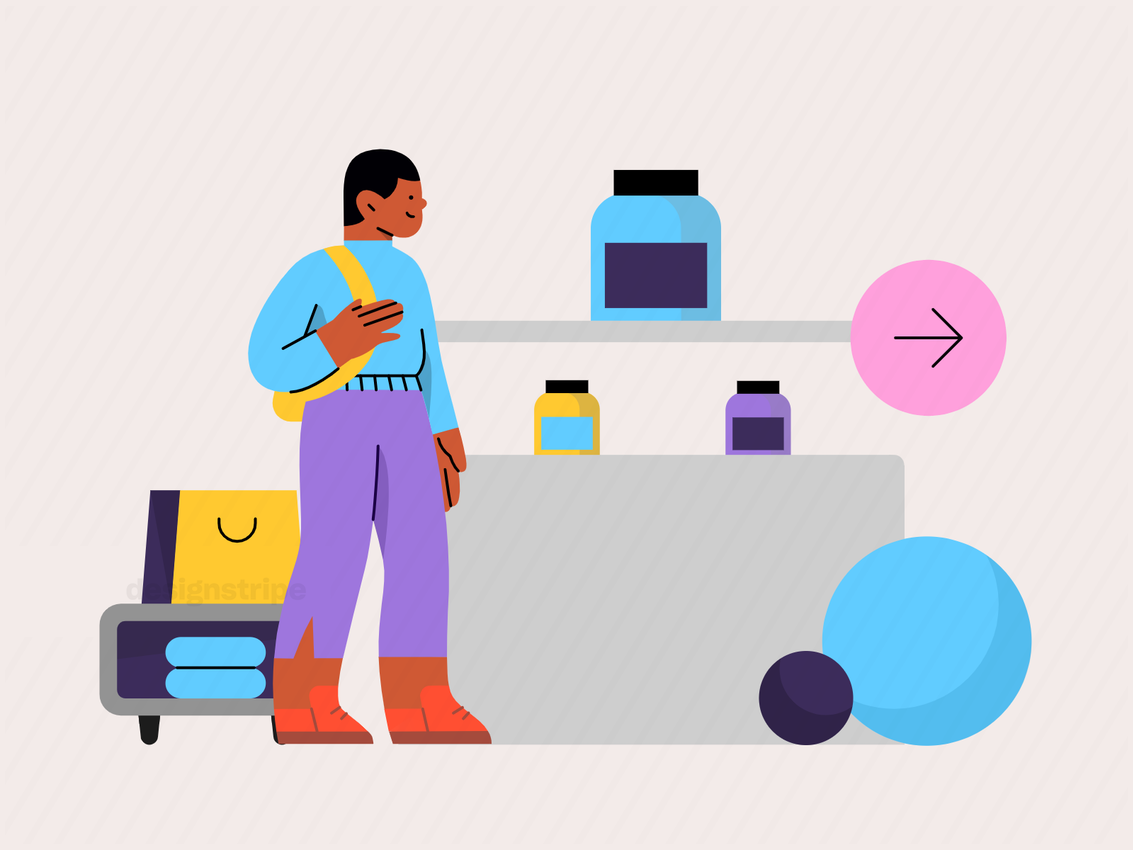 Illustration Of Person Browsing Products In A Store