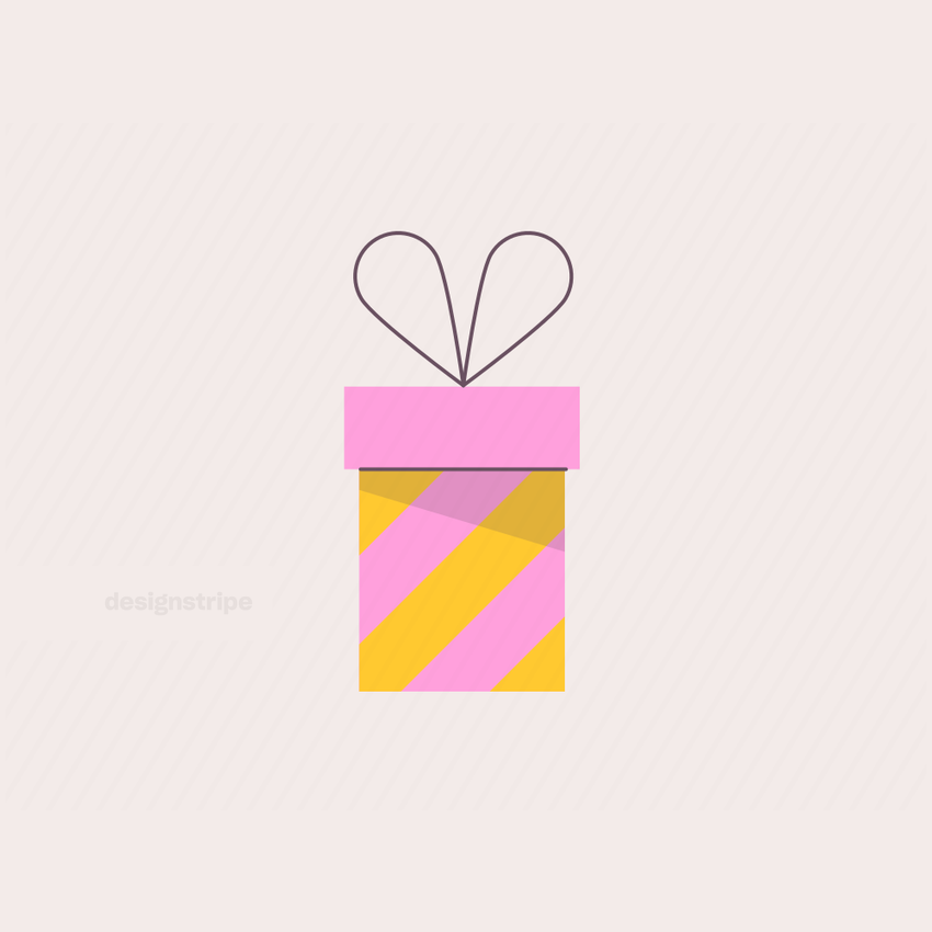 Illustration Of Striped Gift Box with Ribbon