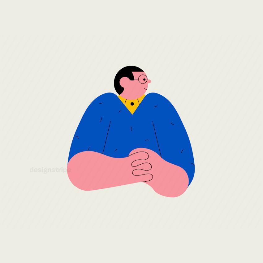 Illustration Of Half body smartly dressed man