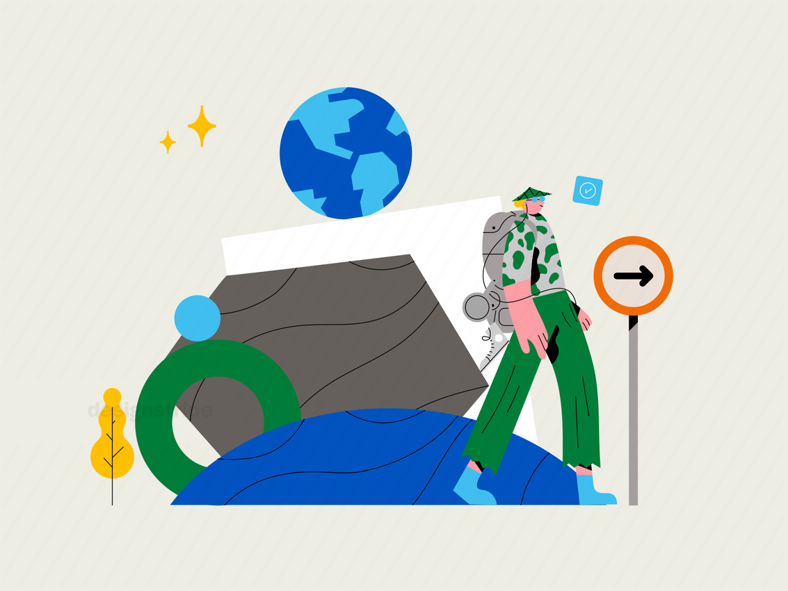 Illustration Of Person Travelling Around the World