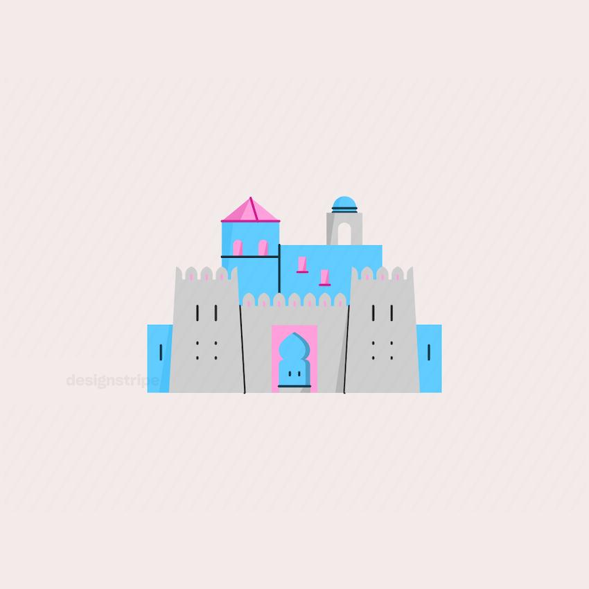 Illustration Of Middle Eastern Castle or Fort