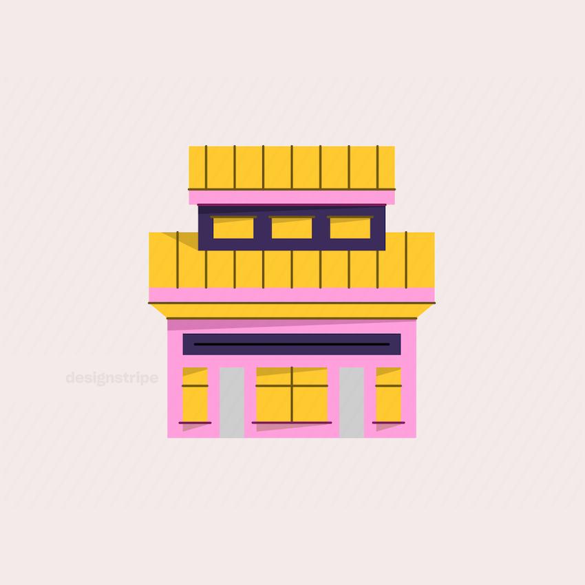 Illustration Of Large Symmetrical Asian House