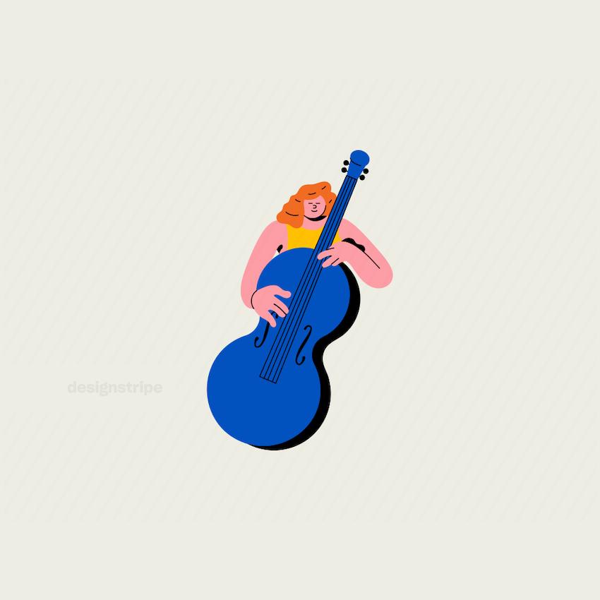 Illustration Of Musician Wearing Dress Torso