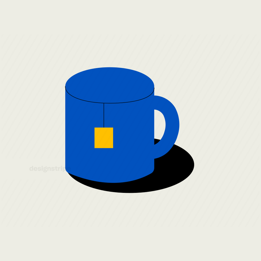 Illustration Of Teacup with Tag