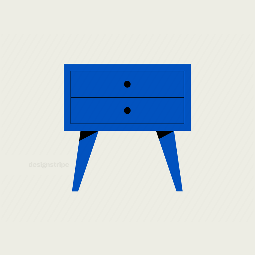 Illustration Of Designer Drawers with Pointy Legs