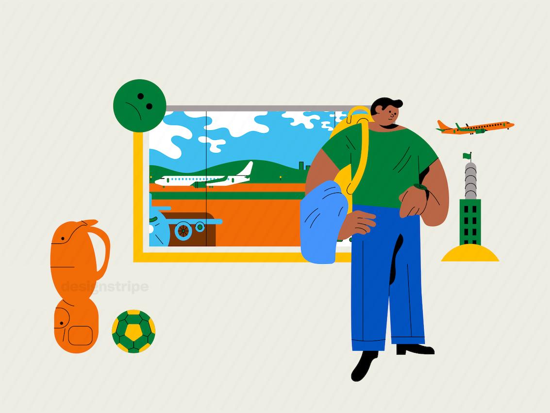 Illustration Of Traveller Waiting For Delayed Flight