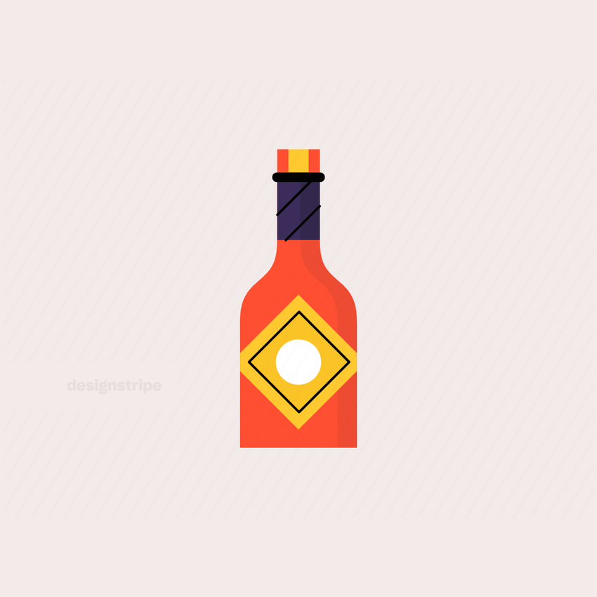 Illustration Of Hot Sauce Bottle