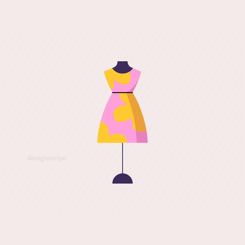 Illustration Of Summer Dress on Store Mannequin