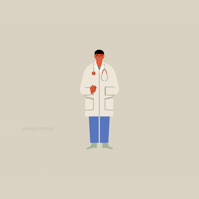 Illustration Of Doctor With Stethoscope