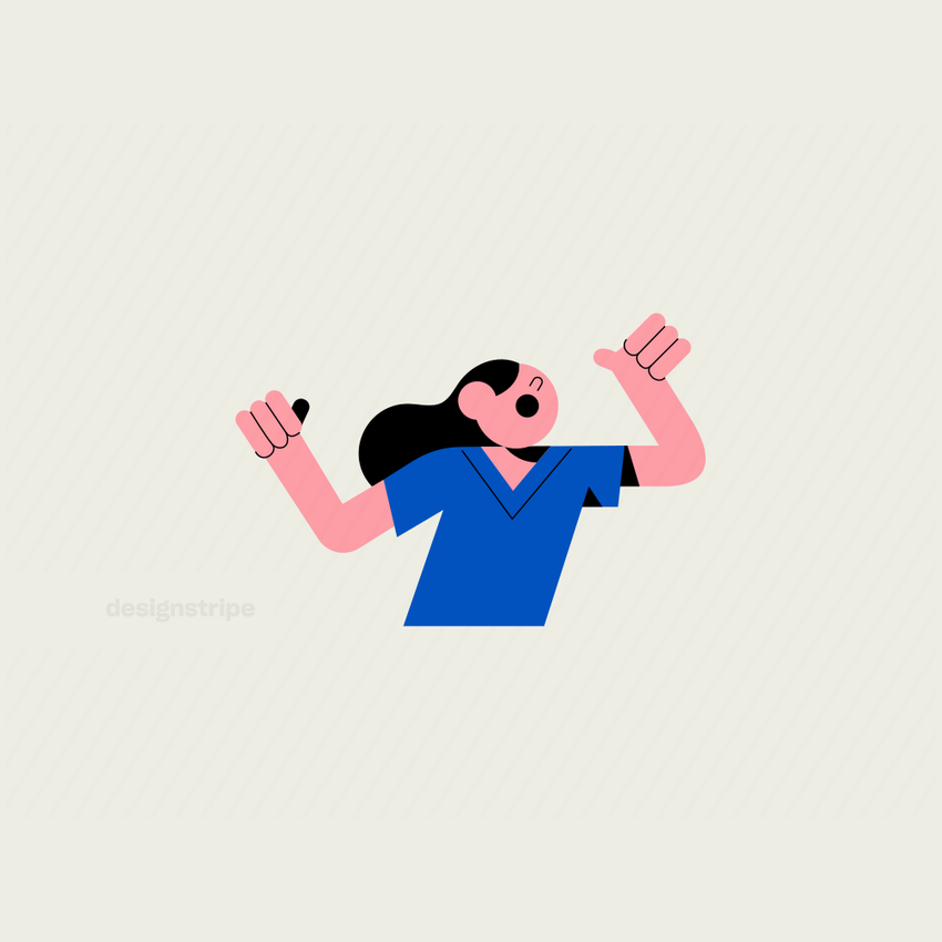 Illustration Of Half Body Girl Shouting