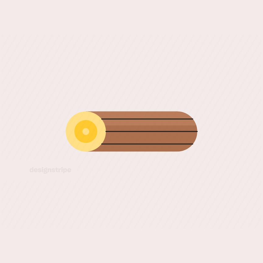 Illustration Of Chopped Wooden Log