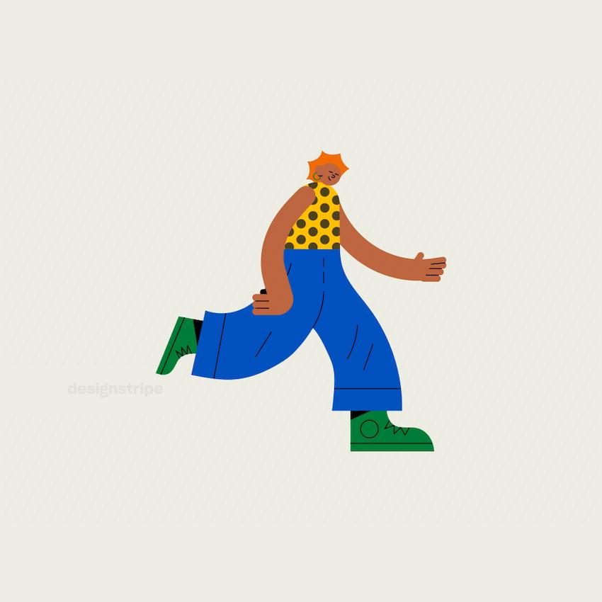 Illustration Of Sideways running girl