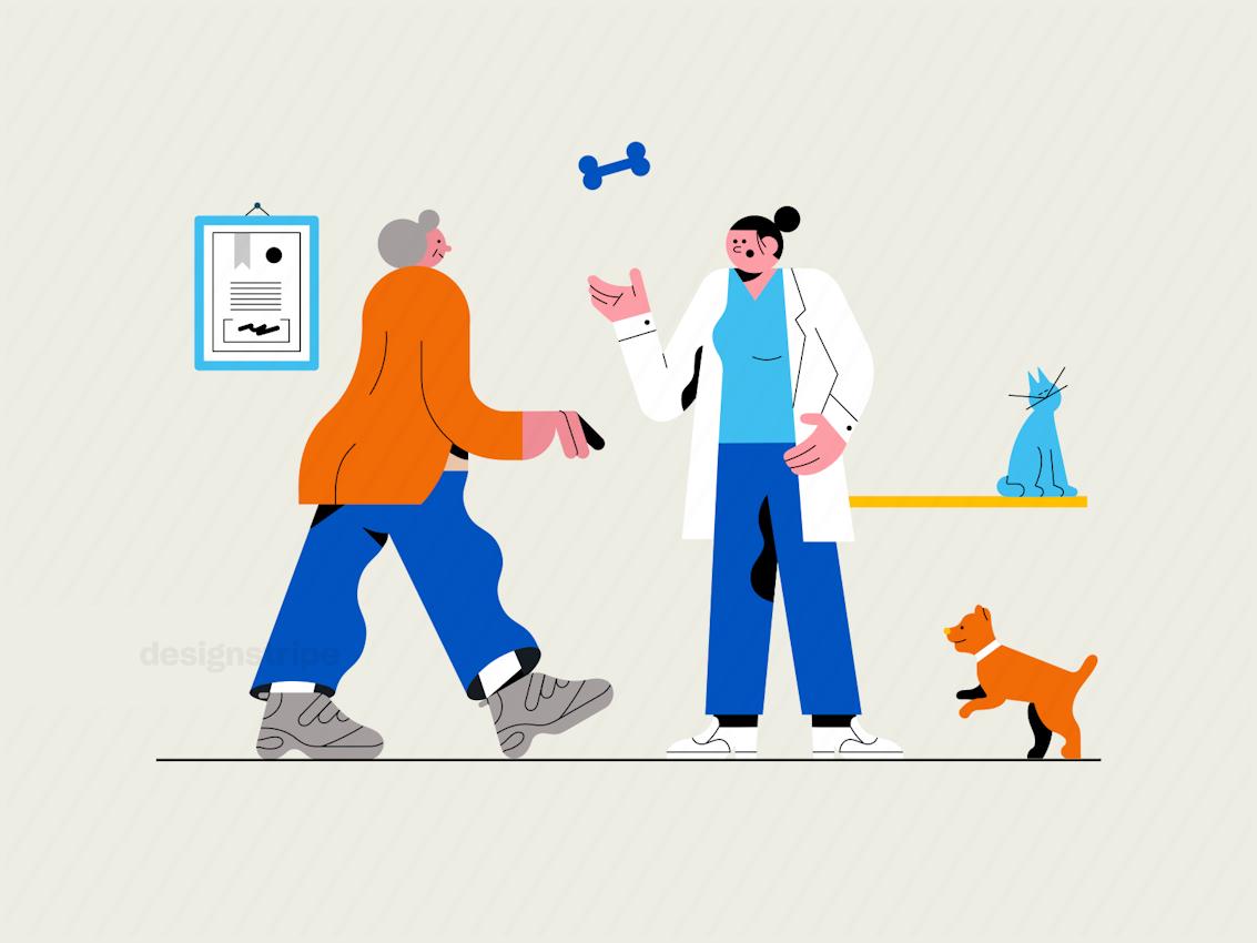 Illustration Of Veterinarian Talking To Pet Owner