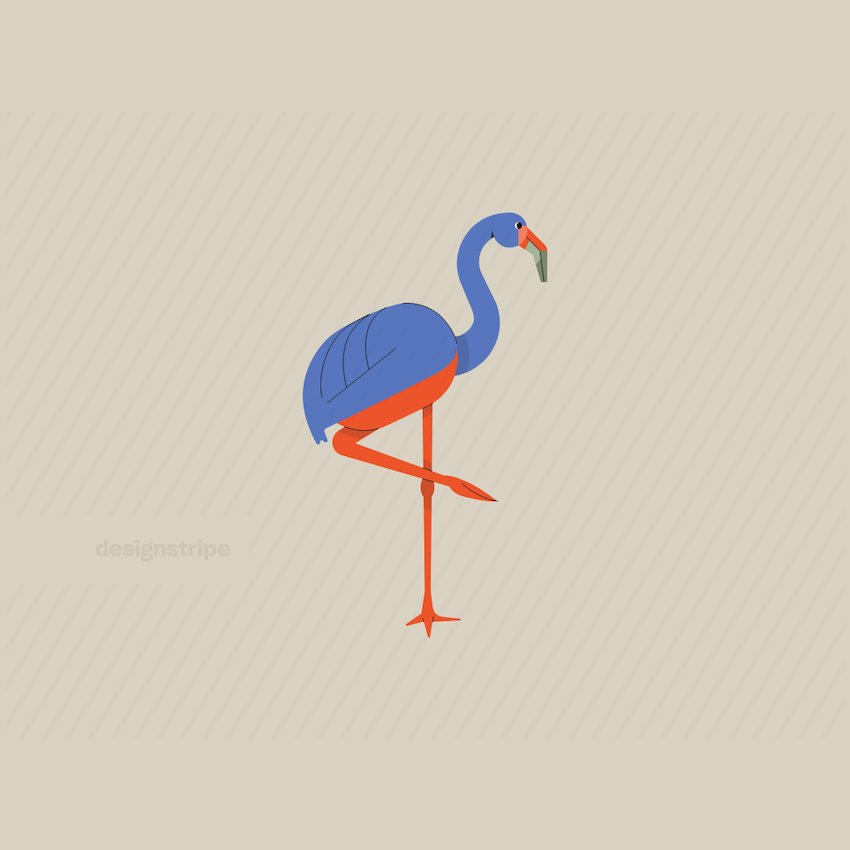 Illustration Of Flamingo Standing On One Leg With Tail Down