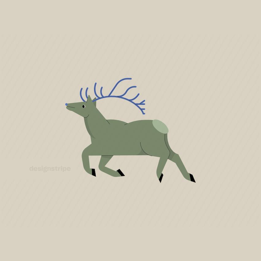 Illustration Of Reindeer In Motion