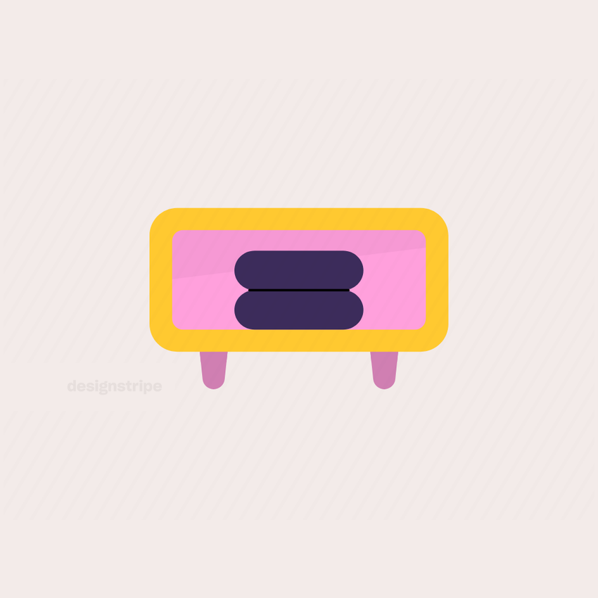 Illustration Of Side Table with Towels