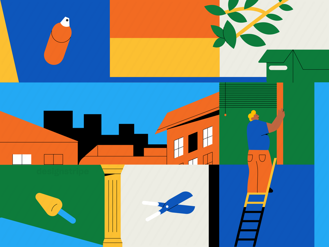 Illustration Of Man Doing Home Renovations