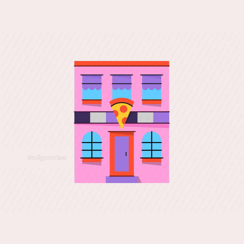 Illustration Of Pizzeria with Sign