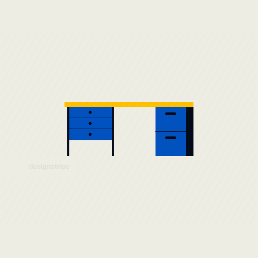 Illustration Of Office Desk with Five Drawers