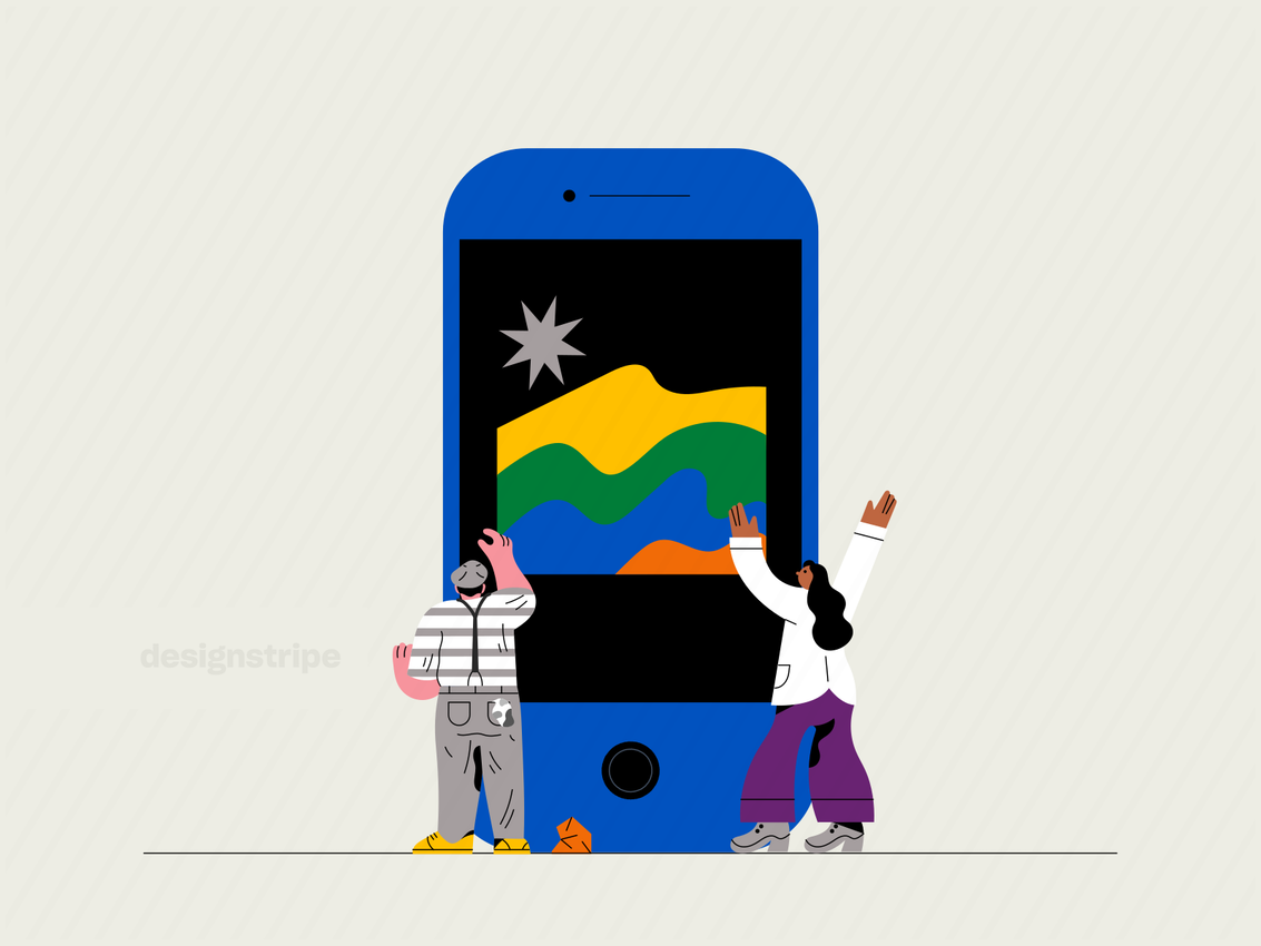Illustration Of People Working Together Through Mobile Collaboration